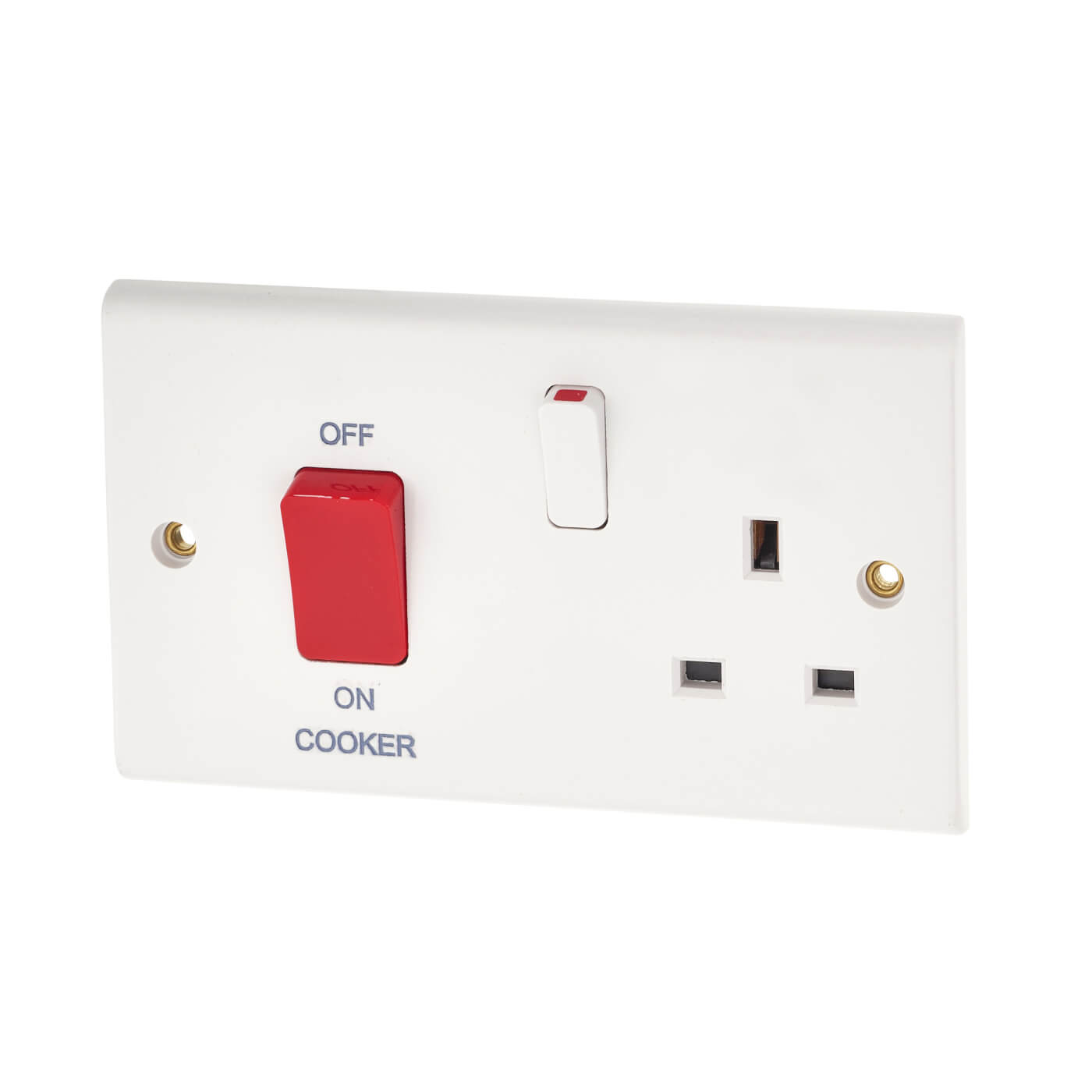 Deta 45a 2 Gang Cooker Switch And Socket White Electricaldirect Wiring Back