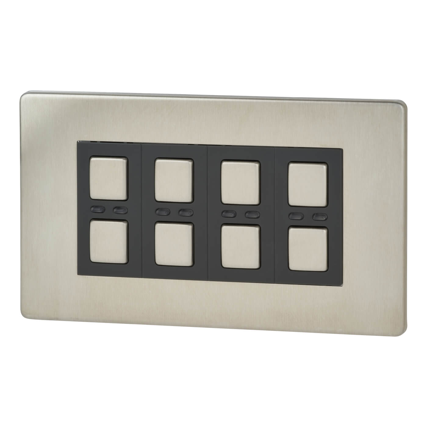 Lightwaverf 4 Gang 2 Way Generation 1 Dimmer Switch Stainless With 3 Core Cable Back