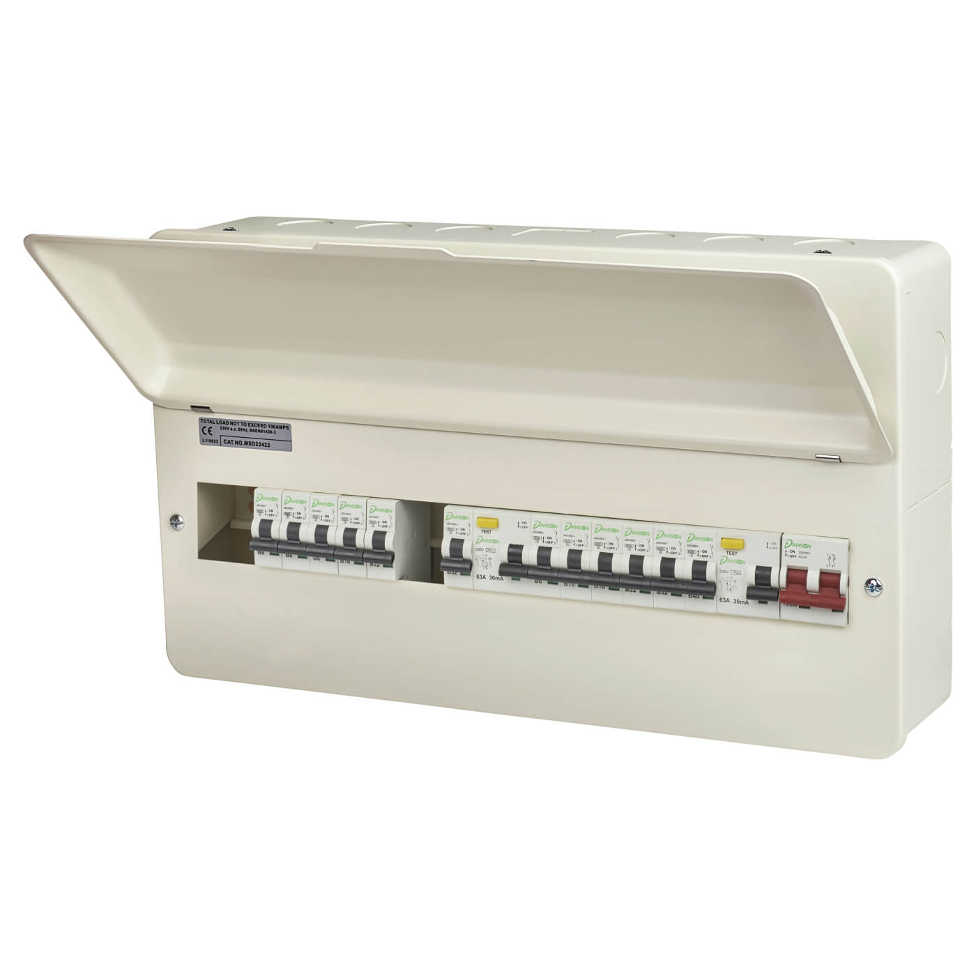 Danson 16 Way 100a Dual Split Load Metal Consumer Unit With 12 Mcbs Wiring Fused Spur Supply Back