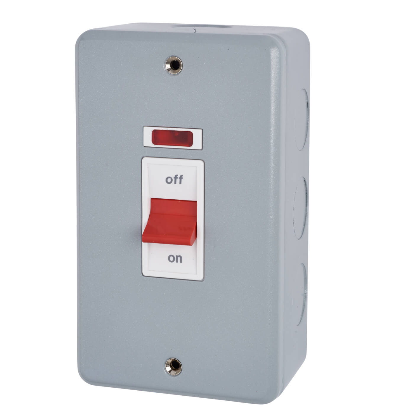 Mk 50a 2 Gang Double Pole Metalclad Cooker Switch With Neon Grey Dual Square D Fuse Box Back