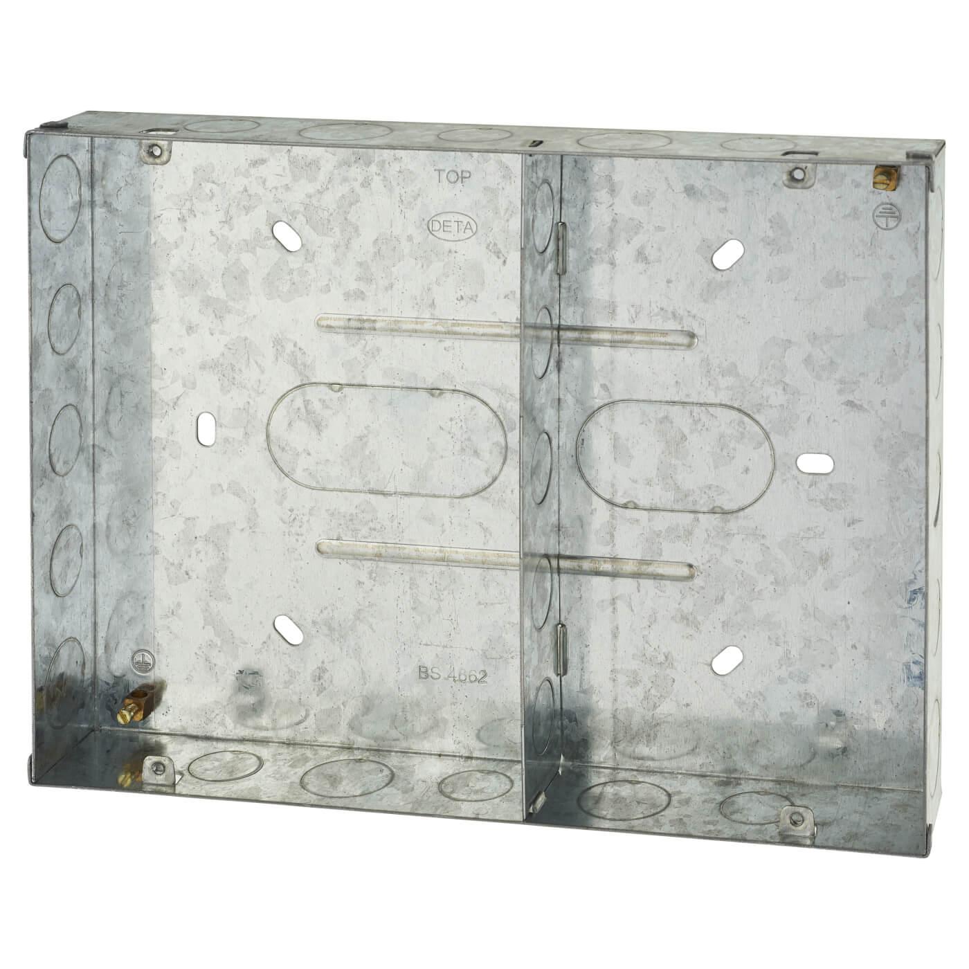 Deta 6 Gang Metal Grid Switch Flush Back Box 40mm
