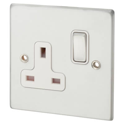 Hamilton 1  Gang 13A Switched Socket  - Satin Chrome with White Inserts