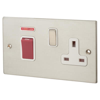 Hamilton 45A 1 Gang Double Pole + Neon & Socket  - Satin Stainless with White Inserts