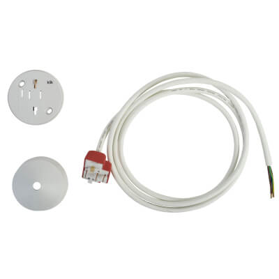Hager Klik 6A 4 Pin Plug in Ceiling Rose with 2000mm Lead - White)