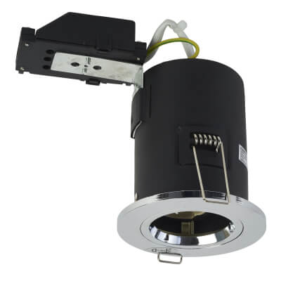 KSR Lighting Fixed Fire Rated Downlight - IP20 - Polished Chrome
