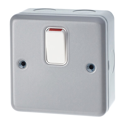 MK 20A 1 Gang Double Pole Metalclad Switch - Grey)