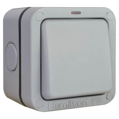 Hamilton Elemento 20A IP66 1 Gang 2 Way Outdoor Switch - Grey)