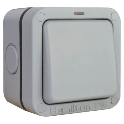 Hamilton Elemento 20A IP66 1 Gang 2 Way Outdoor Switch - Grey