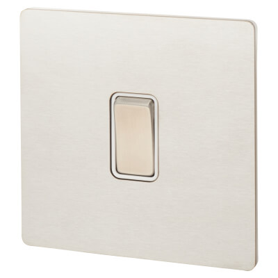 Hamilton 10A 1 Gang 2 Way Screwless Flat Plate Rocker Switch - Satin Stainless with White Inserts