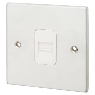 Hamilton 1 Gang Telephone Master Socket - Satin Chrome with White Inserts