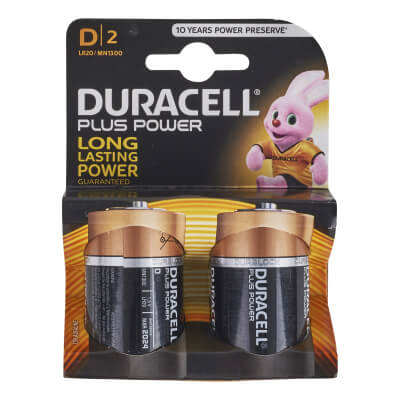 Duracell Batteries - D Type - Pack 2