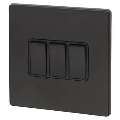 Hamilton 10A 3 Gang 2 Way Screwless Rocker Switch - Jet Black with Black Inserts