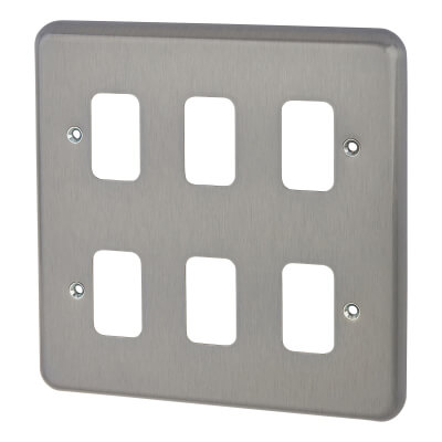 MK 6 Module Grid Front Plate - Brushed Chrome