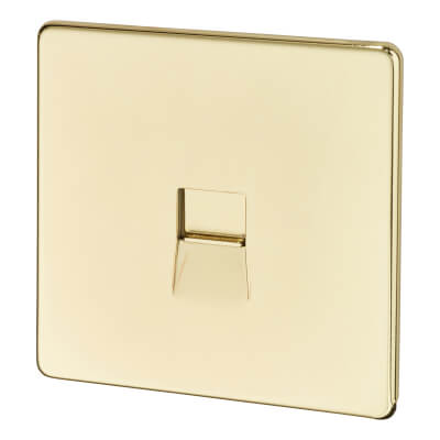 BG Screwless Flatplate 1 Gang Slave Telephone Socket - Polished Brass