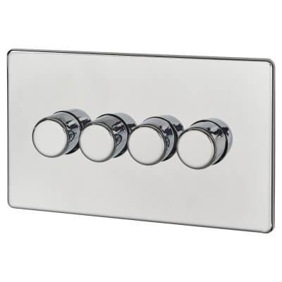 BG Screwless Flatplate 400W 4 Gang 2 Way Dimmer Switch - Polished Chrome