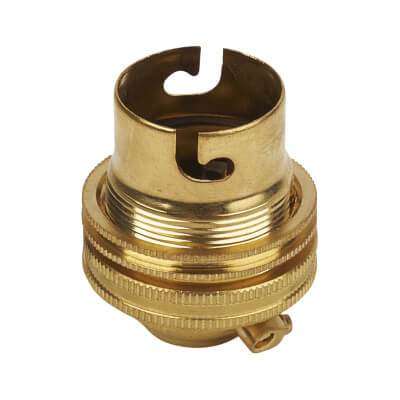 Threaded Brass Lampholder - Bayonet Cap Fitting - Brass