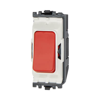 MK 20A 1 Gang 1 Way Double Pole Push to Make Switch Module - Red