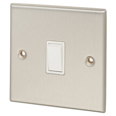 Contactum 10A 2 Gang 2 Way Plate Switch - Brushed Steel with White Insert