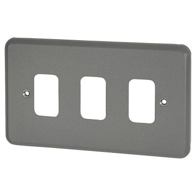 MK 3 Gang Grid Cover Plate Metalclad - Grey