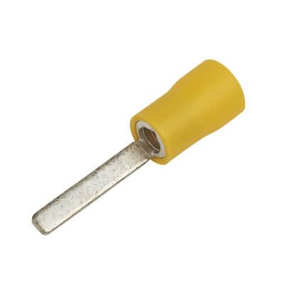 Crimp Insulator Flat Pin - 2.3mm - Yellow - Pack 50