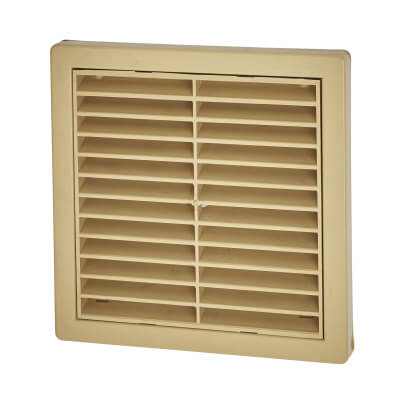 Manrose 5 Inch Wall Grill Fixed Shutter -110mm - Sandstone