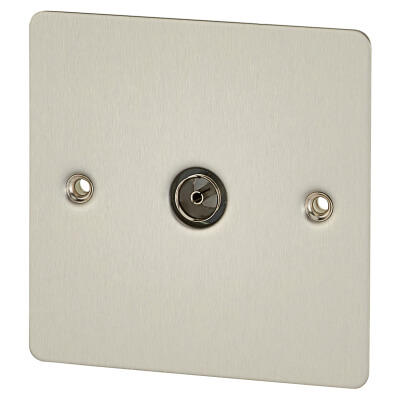 BG Flat Plate 1 Gang Coaxial Socket - Brushed Steel