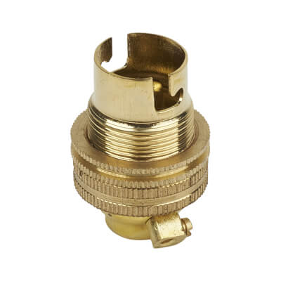 Threaded Brass Lampholder - Small Bayonet Cap Fitting - Brass