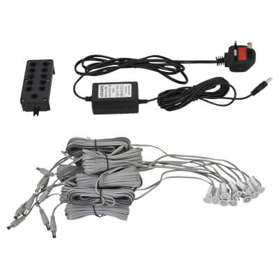 0.1W 15mm White LED Decking Kit - Stainless Steel - Pack 10