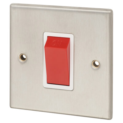 Contactum 45A 1 Gang Double Pole Control Switch with Red Rocker - Brushed Steel with White Insert