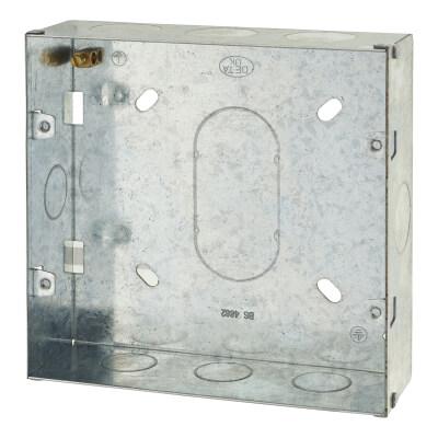 6-8 Gang Flush Grid Back Box - 43mm - Galvanised Metal)