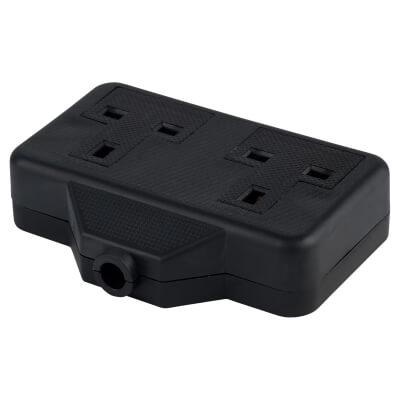 13A 2 Gang Trailing Socket - Black