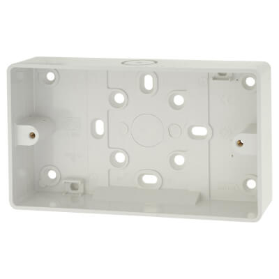 MK 2 Gang Moulded Surface Pattress Box - 32mm - White)