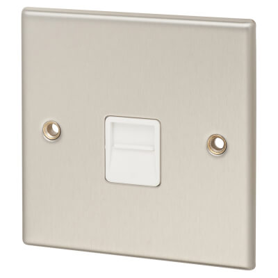 Contactum Secondary Telephone Socket - Brushed Steel with White Insert