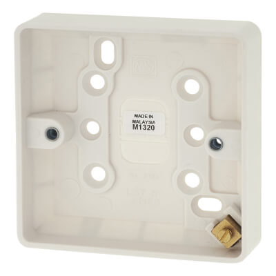 MK 1 Gang 16mm Moulded Surface Box with Earth Terminal