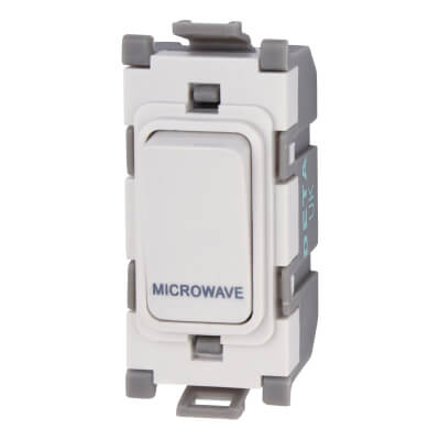 Deta 20A Printed Grid Switch - Microwave - White