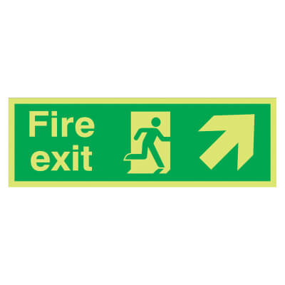 NITE GLO Fire Exit Running Man with Arrow - Up Right - 150 x 450mm - Rigid Plastic