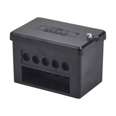 100A Double Pole 5 Way Connector Block - Black)