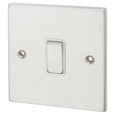 Hamilton 1 Gang 10A Intermediate Switch Rocker Switches - Satin Chrome with White Inserts