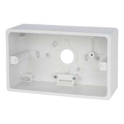 Contactum 2 Gang Surface Pattress Box - 47mm - White)