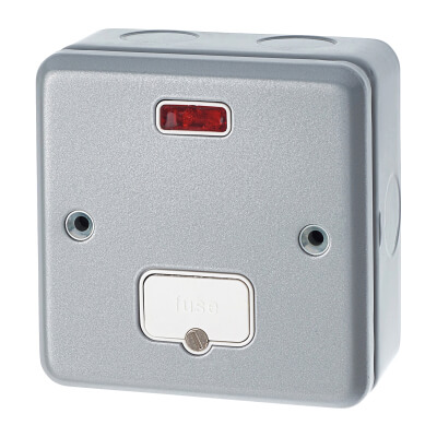 MK 13A 1 Gang Metalclad Unswitched Fused Connection Unit with Neon - Grey