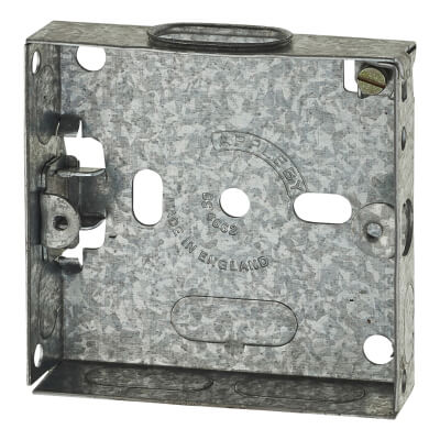 1 Gang Flush Back Box with Knockout - 16mm - Galvanised)