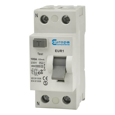 Europa 80A 100mA 2 Pole RCD Time Delay