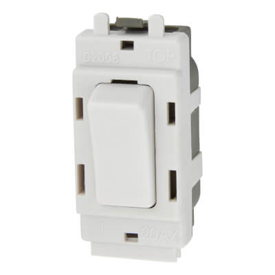 BG 20A Double Pole Grid Switch - White)
