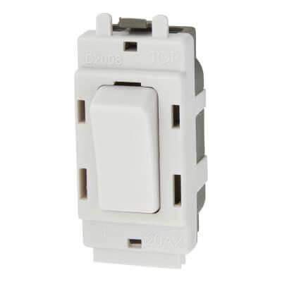 BG 20A Double Pole Grid Switch - White)
