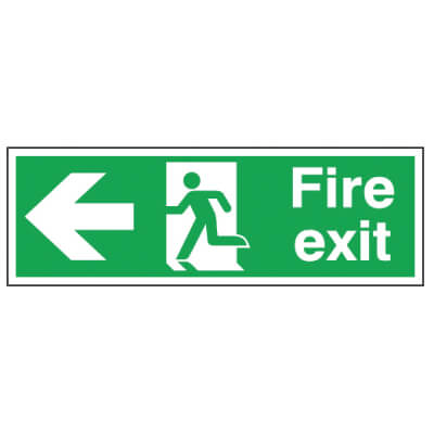 Double Sided Fire Exit Sign - Left - 450 x 150mm - Rigid Plastic