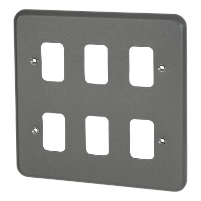 MK 6 Gang Grid Cover Plate Metalclad - Grey