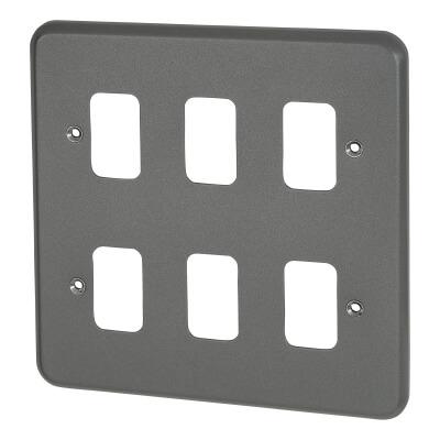 MK 6 Gang Metalclad Grid Front Plate - Grey