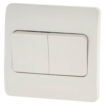 MK Logic Plus™ 10A 2 Gang 2 Way Single Pole Wide Plate Switch  - White