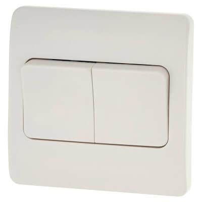 MK Logic Plus 10A 2 Gang 2 Way Single Pole Wide Rocker Light Switch  - White