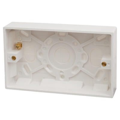 Contactum 2 Gang Surface Pattress Box with Earth Terminal - 25mm - White)